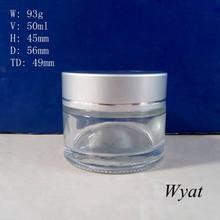 glass cosmetic cream container 2oz jar cream glass 50ml glass jar for face cream