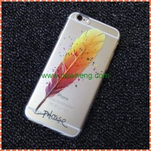 new arrival colorful feather pattern coloured drawing tpu case for iphone6