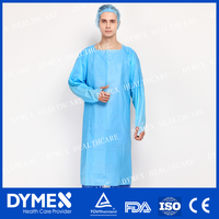 AAMI Level 2 Disposable Mass Production Waterproof CPE Impervious Gown With Thumb Up Over Head And Open Back