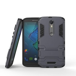 Shockproof Hard Armor Stand Cell Phone Case for MOTO X Force, Heavy Duty Protective Armor Mobile Phone Cover Case for MOTO X