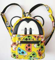 2015 cute fashion 3D girls canvas satchel backpack bags with floral printing