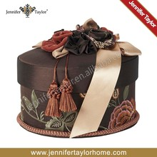 brown color embroidered fabric covered storage gift box
