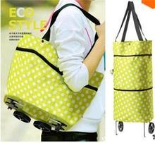 Convenient Dual Wheel Shopping Bags Oxford Cloth Shopping Bag