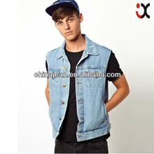 2015 denim sleeveless jacket men wholesale cheap jeans manufacturers china JXQ283