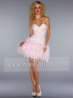 S1163 Sweetheart embroidered beading pink feather cocktail dress