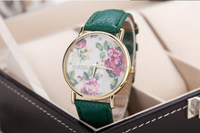 2014 new fashion leather roses geneva watch women look stylish dress quartz watch