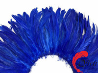Top sale rooster feathers wholesale bleached royal blue coque tails strung for dresses