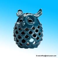 Large Dark Blue Ceramic Owl Candle Lantern