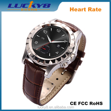 """Silver T2 Leather Man Touch Screen Smart Watch Bluetooth 4.0 1.22"""" Waterproof Calls Pedometer Tracker SYNC for iPhone"""