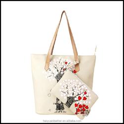 White fashion handbag cotton canvas tote bag