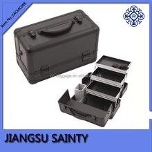 China wholesale hard shell cosmetic case black aluminum beauty case