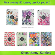 Super slim flora printing 360 rotating leather case for ipad air 2 , for ipad air 2 case 360 degree
