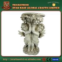 Custom made wholesales decorative fiberglass cherub bird feeder for garden decoration
