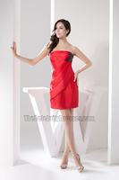 Chic Short Mini Red Beaded Strapless Party Cocktail Dress