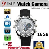 Full HD 1080p night vision waterprof sport 16GB hidden mini camera watch