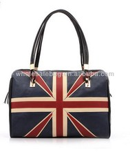 European Vintage London Style Union Jack Head Pu Leather Handbag Tote Bag For Ladies Women Girl In Stock Wholesale Price