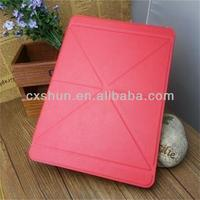 Cross pattern multi folds transformers cover case for ipad air
