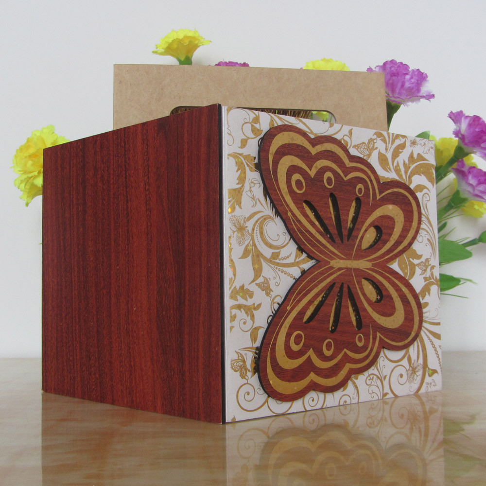 Gold Blue Bengali Wooden Butterfly Wedding Invitation Card - Buy ...