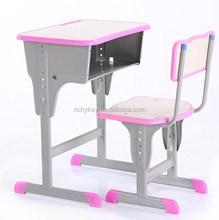 Children school height adjustable study desk and chair