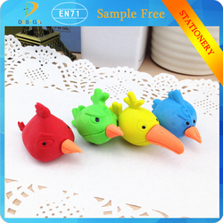 Quality Products 3D kawaii bird shape animal school eraser stationery for sale
