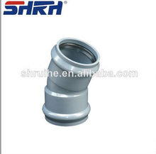 PVC fittings with rubber two faucet 22.5 degree elbow (DIN STANDARD ISO4422)