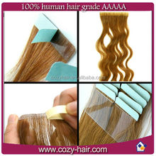 grade 5A brazilian virgin remy hair adhesive tape hair extensions top quality pu skin weft