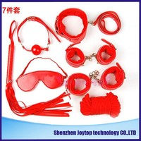 Adult Game 7-pcs Set Handcuffs Gag Nipple Clamps Whip Collar Erotic Toy Leather Fetish Sex Bondage Restraint Sex Toy for Couples