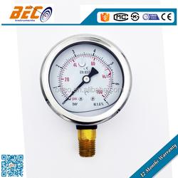 Half Stainles Steel Hydraulic Pressure Gauge Bourdon Tube