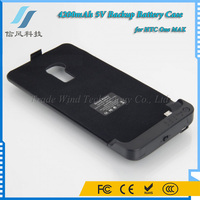 4200mAh 5V Backup Battery Case for HTC One MAX Power Case Black