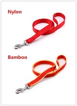Customized 3meters long 100% Pure Nylon and 100% Pure Bamboo fiber Pet leash Dog lead matched collar for Dog