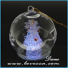 Indoor fashion transparent glass dome christmas tree decorations