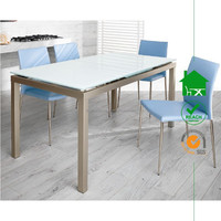 DT-2074 Elegance Contemporary White tempered Glass Extending Dining Table with Chromed Legs
