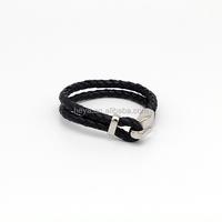 "Jewelry Men's ""Love God"" PU Leather Stainless Steel Black Band Bracelet"