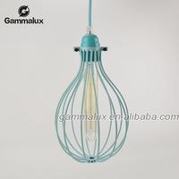 Iron Edison Bulb Suspended Pendant Light,Light Blue Bird Cage Chandelier,Pumpkin Ball Cage Pendant Light