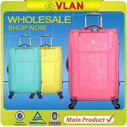 2015 Newest Design Crinkle Fabric Built-in Trolley luggage and case