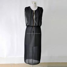 New summer sexy women dress black chiffon maxi dress