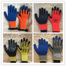 Orange Cotton Lined Latex coated Gloves For Industrial/cheaper price high quality latex gloves