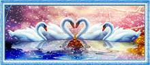 """ Fantasy Swan Lake "" New 5D round crystal diy diamond painting"