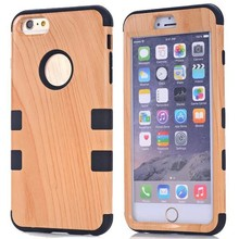 China supplier 3 In 1 Pattern Wood Texture Plastic and Silicone Hybrid Protective case for Iphone 6