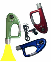 hot sale carabiner lighter FM radio carabiner