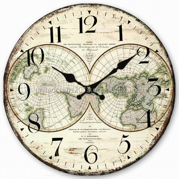 World map painted wall clocksantique wall clock wooden wall clock z1022 34cmg gumiabroncs Image collections