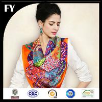 Custom digital printed 100 natural silk scarf with beads