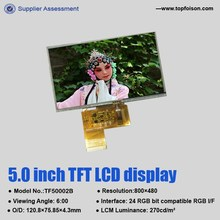 "Factory manufacturing 5"" tft lcd touch screen with resolution 800*480 RGB interface-TF50002B"