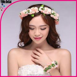 White bead flower wreath ring bride children bride headdress Bohemia flower headdress