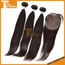 Popular lady human mongolian straight hair lace closure with 3pcs cheap remy hair bundles good quality weft