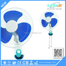 Oscillating wall fan with remote