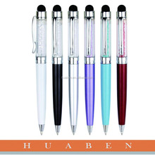 Huaben High quality crystal metal ball point pen screen pen and touch pen of promotional gift
