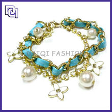 2015High Class Fashion Flower Metal Bracelet,Crystal And Pearl Pendant Bracelet,Half Leather And Half Metal Bracelet For Lucky