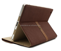 New Arrival Case Tan Buckle Leather Stand Cover Case For iPad 2