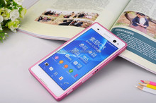 Fashion Ultra-thin Aluminum Metal Frame & PC Back Cover Mobile Phone Cases For Sony Xperia C3 S55T Phone Bag